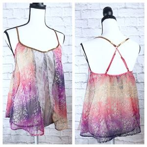 Free People Multi Color Sheer Lace Sequin Camisole